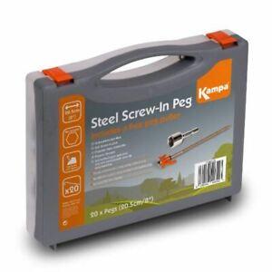 Kampa-Steel-Screw-Peg-with-Adaptor-pack-13mm-hex-head-Camping-Caravan-Drill
