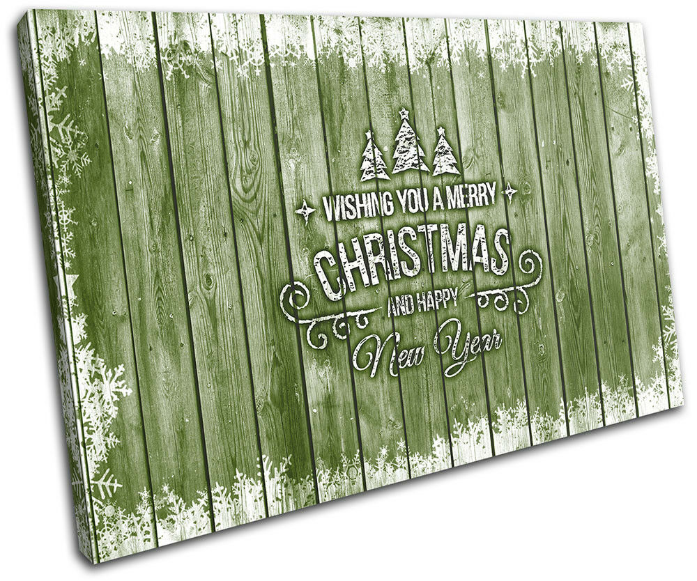 Christmas Decoration Wall Canvas ART Print XMAS Picture Gift Wood 03 vert Chris