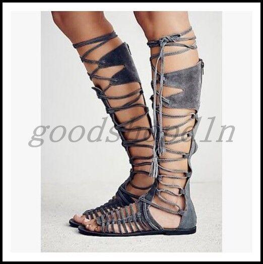 Vintage Donna Suede Pelle Open Stivali Toe Roma Sandals Knee High Stivali Open Bandage Shoes 5ac1b6