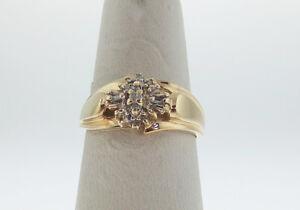 Estate-Genuine-Diamonds-BAND-Solid-10k-Yellow-Gold-Ring-FREE-Sizing