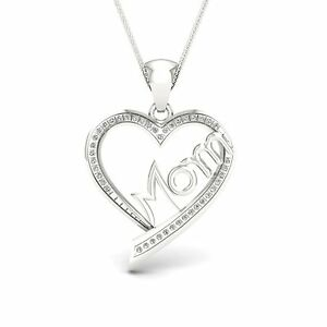 IGI-Certified-S925-Sterling-Silver-0-13ct-TDW-Diamond-Mom-Heart-Necklace