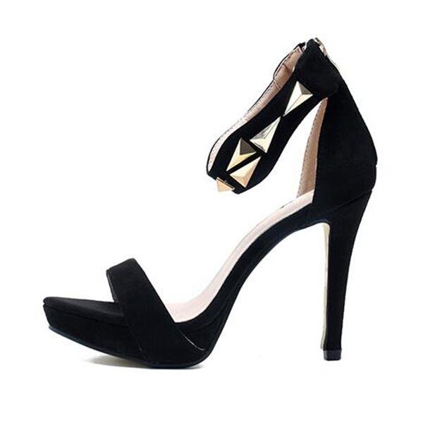 Sandali donna comodi comodi comodi eleganti stiletto alti 11 cm nero oro orchie CW880 a9f44a