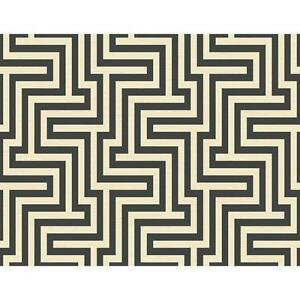 Wallpaper-Designer-Black-and-Cream-Large-Modern-Geometric-Labyrinth