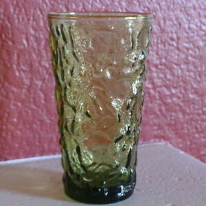 Anchor-Hocking-Lido-Drinking-Glass-Tumbler-Avocado-Green-Mid-Century-1960s-Vtg
