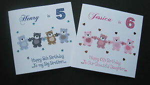 Handmade-Personalised-Birthday-Card-Dancing-Teddies-1st-2nd-3rd-4th-5th-6th