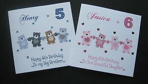 Handmade-Personalised-Birthday-Card-Dancing-Teddies-1st-2nd-3rd-4th-5th-6th