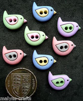 SEW CUTE BIRDS Craft Buttons 1ST CLASS POST Novelty Modern Kitsch Sewing Fun