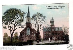 Vintage-1915-Postcard-Lynn-St-Mary-039-s-Church-and-school-Massachusetts
