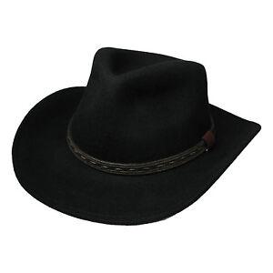 Herren Uk Verkaufer Schwarz Filzhut Cowboy Hut Breite Krempe 39004 5