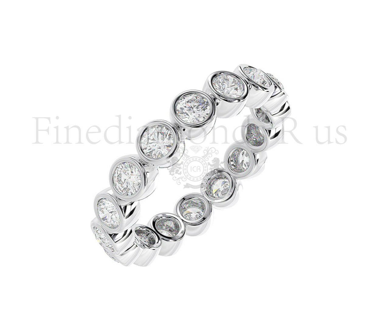 1.30 Carat Round Brilliant Cut Diamonds Full Eternity Ring Available in 18K gold