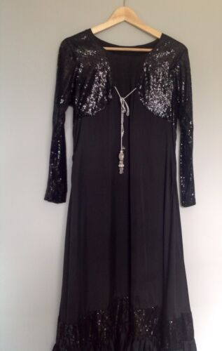 petto Party Dress 40 pollici Indian taglia 16 Asian Long Evening Black wPSnI8q