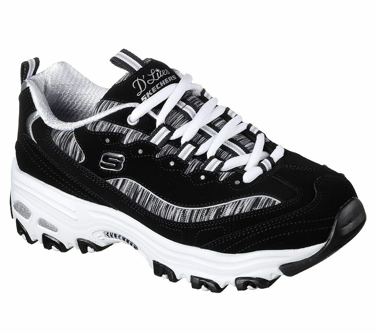 Skechers DLites Noir Blanc Chaussures Femme Sport Décontracté Mousse à Mémoire De Forme Confort 11978