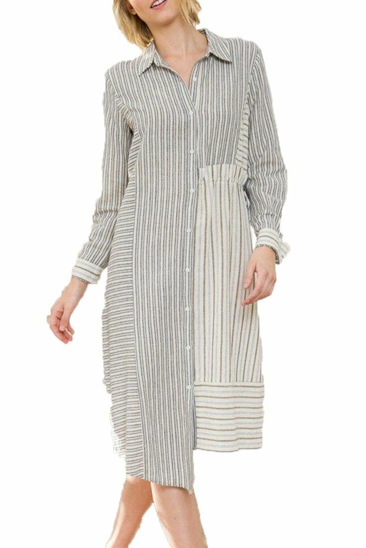 54ce5ee6f5d6e Mystree - Stripe Uneven Shirt Dress - Off White Navy Hemline Mixed ...
