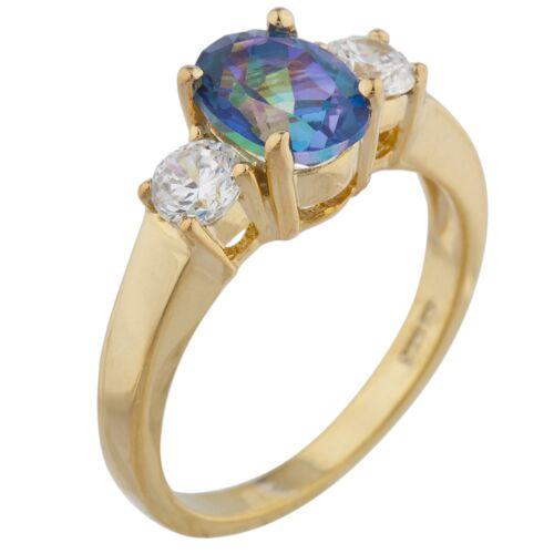 14Kt Gold 2 Ct Naturel Bleu Mystic Topaz /& Zircone Ovale Bague