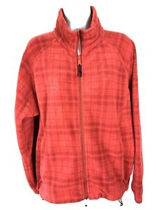 Columbia-Womens-Fleece-Jacket-Size-Large-Rust-Plaid-Warm-Waist-Adjustment