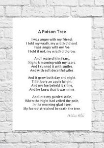 Details About William Blake A Poison Tree Inspiring Poem A4 Size