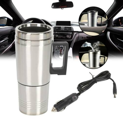 Travel 12V Car Thermos Thermal Heating Mug Cup Kettle Plug Heated Auto Adapter