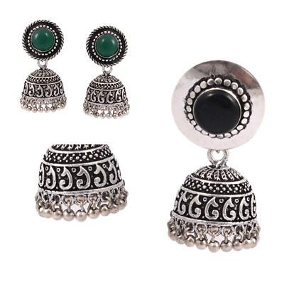 Oxidized Silver Plated Handmade Light Weight Bollywood Jhumka Jhumki Earrings #B