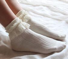 Retro Style Lace Ruffle Frilly Ankle Short Socks Ladies Princess Girl Stockings