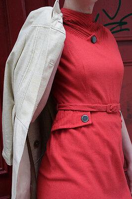 Antiquariato-basso, Pallido Abito Rosso A Mano Dress Red Handmade 40er True Vintage 40s-mostra Il Titolo Originale