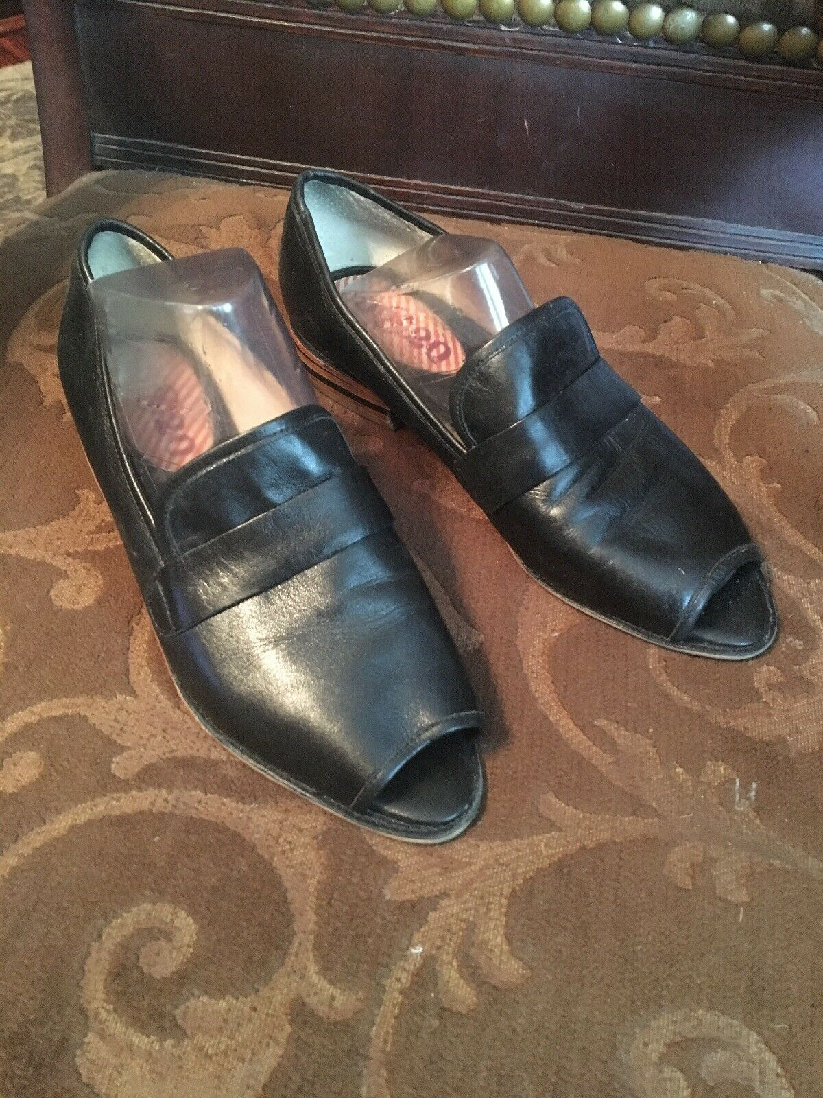 80% 20 femme open toe Mocassins chaussures en cuir Taille 9