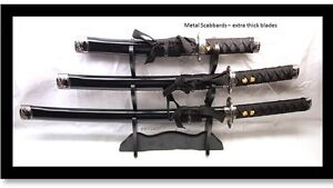 Set-of-3-High-Quality-Black-Samurai-Katana-Swords-Thick-Blade-Metal-Scabbard