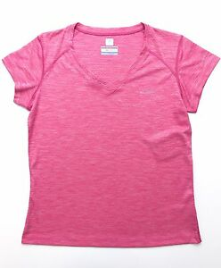 Columbia-Sportswear-Women-039-s-Omni-Freeze-ZERO-V-Neck-T-Shirt-River-Chill-Pink
