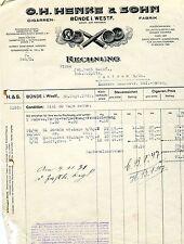 Alte Rechnung 1931 Henke Sohn Bünde Westfalen Zigarrenfabrik Bremen