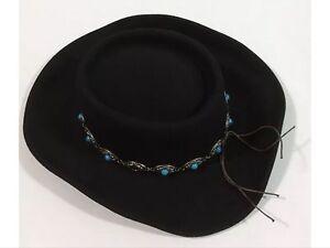 MEN S BRONER BLACK GAMBLER STYLE WESTERN COWBOY HAT 100% WOOL FELT ... f922a5a2107b