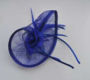 Cobalt-Sapphire-royal-blue-sinamay-amp-feather-fascinator-headband-Wedding-races