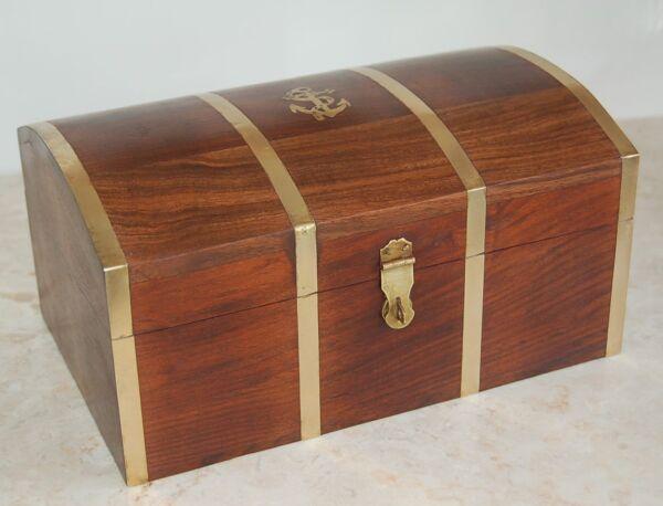 Box,scrigno,scatola Portagioie,in Teak Massello E Ottone Massiccio Mis.1.