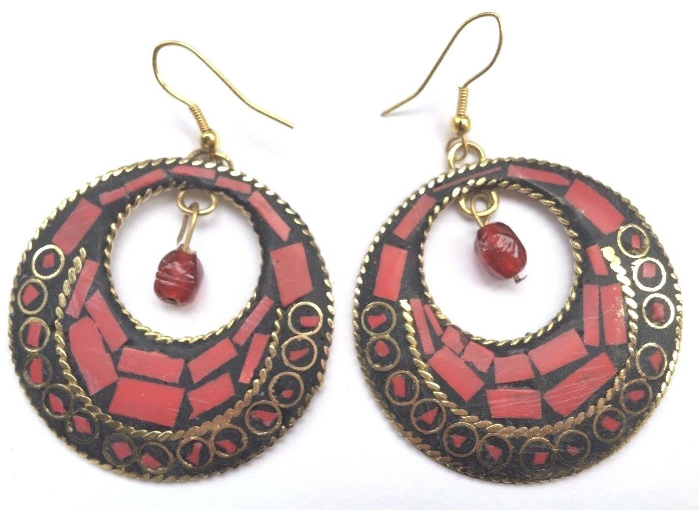 Bohocoho Peculiar Boho Gitano 70s Estilo Rojo Mosaico Colgantes Pendientes de aro