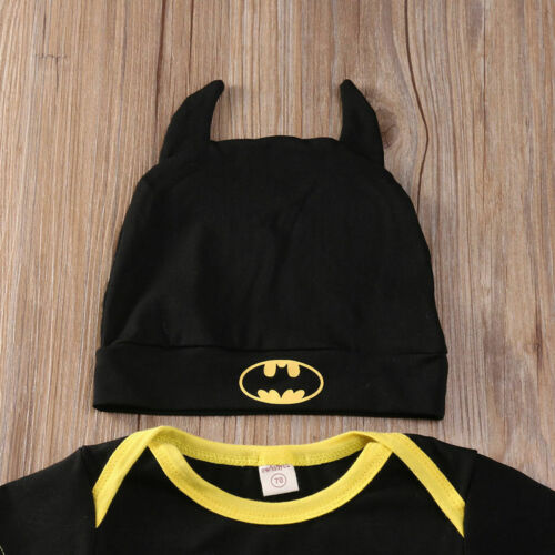 3Pcs Batman Baby Boy Romper Jumpsuit Cotton Top Shoes Hat Outfit Newborn Clothes