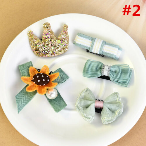 1 Set Kids Baby Girl Hair Clips Set Bowknot Flower Heart Crown Headwear Hairpins