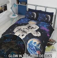 New Spaceman design glow in the dark Single Duvet quilt Cover Set bedding