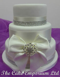 Image Is Loading WEDDING CAKE BRIDAL CRYSTAL HEART BROOCH DIAMANTE RIBBON