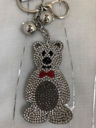 CUTE SOFT GREY MR TEDDY BEAR Diamante Keyring Rhinestone handbag Charm Bling NEW