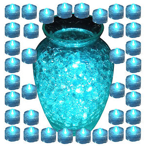 New 36 pcs TEAL Underwater LED Submersible Candles LED tealights Tea Light
