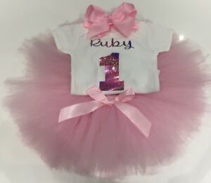 ce9100cb1 Baby Girls Personalised 1st First Birthday Outfit Tutu Skirt Cake ...