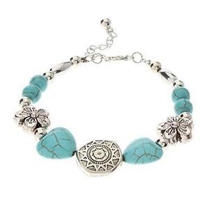Turquoise-Heart-amp-Silver-Flower-amp-Inca-Sun-amp-Bead-Bracelet-Boho-Aztec-Hippy