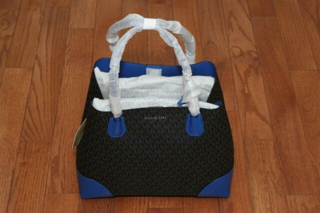 NWT Michael Kors  348 Studio Mercer Large Corner Tote Bag Black Electric  Blue db6d4062ed2a6