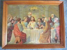 FRAMED VINTAGE RELIGIOUS PAINT BY NUMBERS PAINTING JESUS & DISCIPLES LAST SUPPER