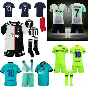 Ronaldo 7 Kids Football Rainbow Kits Youth Uniforms Boys Full Kits Soccer Team Sports Outfit