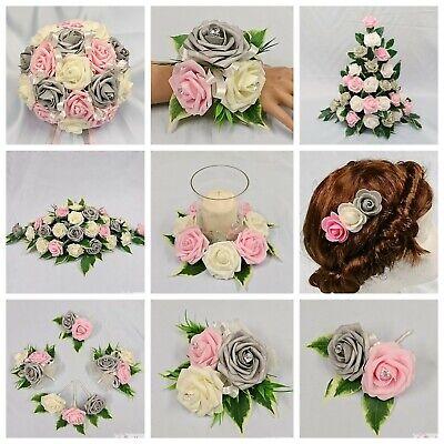 6 Red Diamante Ribbon Roses Wedding Flowers Bouquet Buttonholes Bridal Corsages