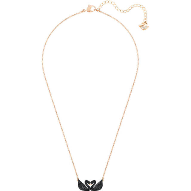 5d8aa42bb Swarovski Crystal Iconic Swan Double Necklace Black 5296468 for sale ...
