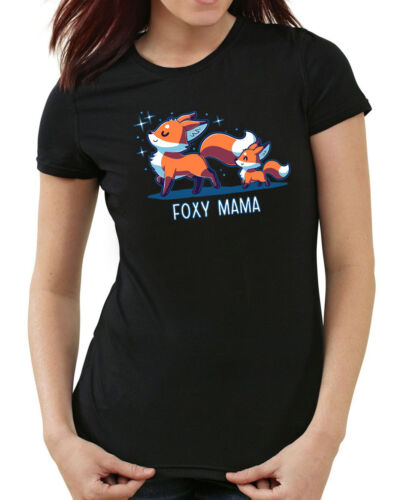 Foxy Mom T-Shirt-Girls  Blackfuchs mama niedlich,