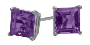 1-20Ct-Genuine-5mm-Square-Amethyst-Sterling-Silver-Stud-Earrings