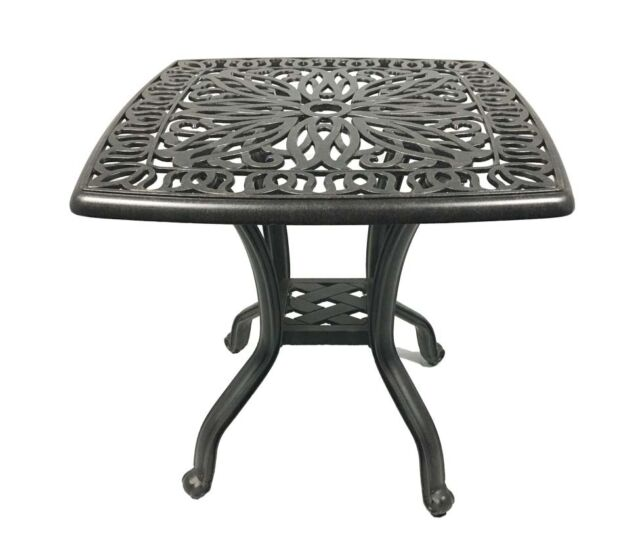 Cast aluminum end table Elisabeth patio square balcony accent outdoor furniture