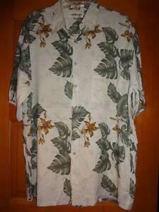Campia-Moda-Rayon-Hawaiian-Shirt-Men-039-s-Short-Sleeve-L-Tan-Green-Brown-Large