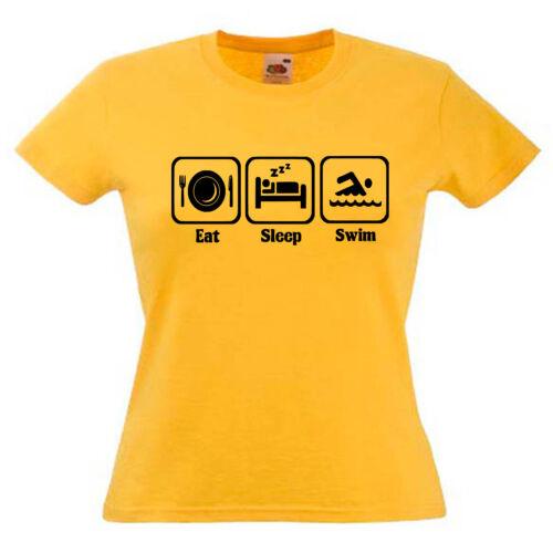 Swimming Swimmer Swim Slogan Ladies Lady Fit T Shirt 13 Colours Size 6-16
